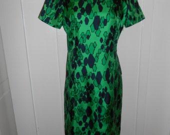 Vintage 1960s Green Shift Dress