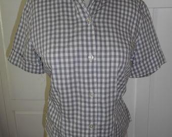 Vintage 1950s Gray Gingham Cotton Blouse