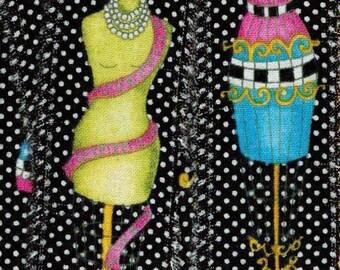 yellow, turquoise ,handmade ribbon,french manikin, dress form ,polka dot ribbon,hand torn muslin, fabric ribbon, craft supply 1323 51