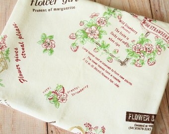 Cherry Jam Strawberry Cotton Linen blend fabric quarter