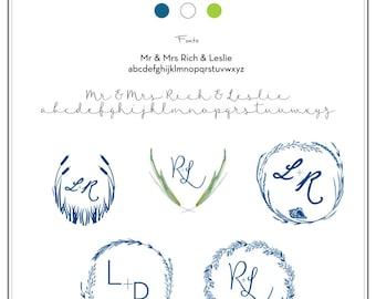 Custom Wedding Monogram, Wedding Stationery Monogram, Wedding Logo.