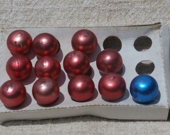 12 Mini Glass Ball Christmas Ornaments Red Vintage Made in Taiwan, 15mm plus one blue