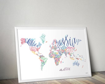 WORLD MAP calligraphy map art colorful typography continents Wanderlust