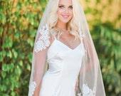 Lace Veil, Ivory Lace Appliques Veil, Chapel Veil, Bridal Veil, Cathedral Veil, Bridal Wedding Veil, Lace Appliques Veil, Alencon Veil, Tia