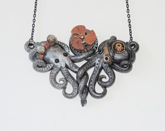 Intertwined steampunk octopi, gift, propeller, spins, mechanical, metal, cosplay, costume, goggles, gears, cogs,