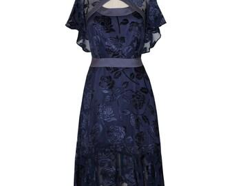 Flora Dress ~ Midnight Blue Velvet Burn Out- SALE
