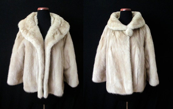 "Luscious 1950's Blonde Mink Cropped Swing Jacket Dramatic Shawl Collar by ""Robinson's of California"" Rockabilly VLV Pinup Size-Large-X-Large"