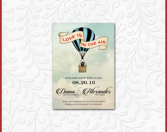 Hot Air Balloon Invitation / Modern Contemporary / Engagement Save-the-Date Rehearsal Dinner Bridal Shower Anniversary Kissing Couple / 5x7