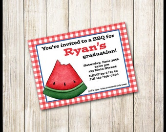 BBQ Invitation / Watermelon / Red & White Checks / Graduation Birthday Pool Party Summer Outdoors Picnics Rehearsal Dinner Engagement Shower