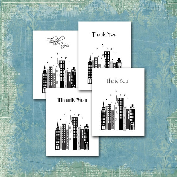 City Skyline Thank You Note Cards / Cityscape / Engagement Shower Wedding Anniversary / Art Deco, Modern, Traditional, Freehand Script