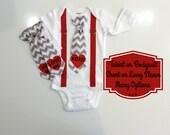 Valentine's Day Outfit for Baby Boy. Conversation Heart Shirt. Cute Valentines Clothes. Newborn Boy or Toddler Boy. Chevron Heart Tie.
