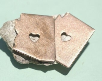 Arizona State Chubby Heart Cutout Blank for Enameling Metalworking Stamping Texturing Blank Variety of Metals