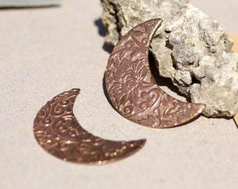 Moon with Lotus Flowers Texture Enameling Stamping Texturing Metalworking Blanks - Variety of Metals
