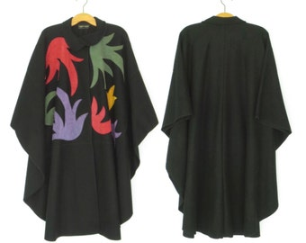 Vintage Wool Poncho * 1980s Avant Garde Cape * 80s Blanket Coat * One Size