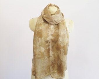 "Silk Scarf  - Eco Gift - Natural Dye Ecoprint - HA011607 -  approx. 14""x72"" (35 x 182cm)"