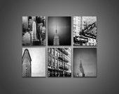 Sale, New York Photography, Black White Prints, NYC ART, 6 Photo Set, Art Deco NY Architecture, New York City Prints, Chrysler Flatiron