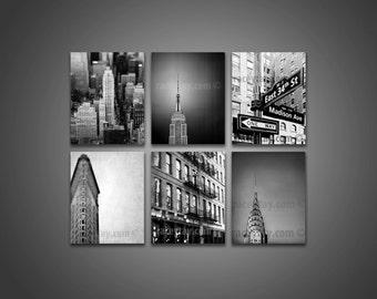 SALE, New York Photography, Black and White, NYC Art, 6 Photo Set, Art Deco, New York City Set, Chrysler Flatiron