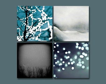 SALE, Winter Art Prints, Black, White, Blue, Teal, 5x5 Prints, Set of 4 Prints, Nature Photography Save 50%