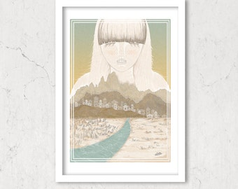 Lady Of The Canyon, Art Print Illustration