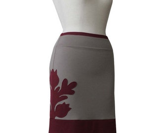 Womens Skirts with applique, Custom jersey skirt, Knee length Custom skirt, Pencil skirt Plus size Clothing, applique Plus Size Skirt