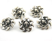 10 pcs Zinc Silver Metal Skull Rowel Head Metal Rapid Rivet Stud Conchos Decor Diy Crafts Fashion Accessories Jewelry Sizes 20 mm. SK N20 31