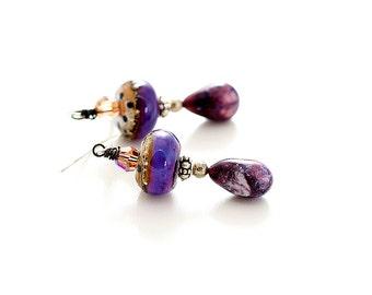 Purple Glass Bead Earrings. Lavender Bead Earrings. Tribal Boho Earrings. Lampwork Jewelry.