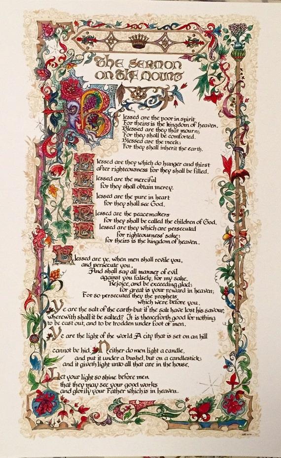 Sermon On The Mount Beatitudes Bible Art Original Art By