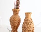 Set of Two Vintage Wicker Vases