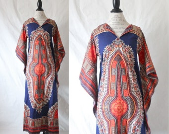 c1970's Full Length Dashiki Dress