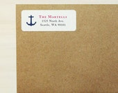 Return Address Labels - Anchor Labels, Nautical Address Labels, Nautical Baby Shower, Nautical Wedding, Custom Printed Labels