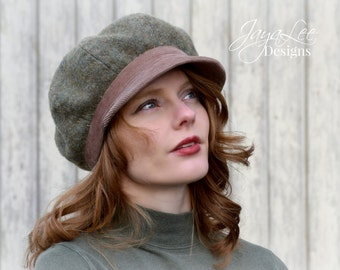 Women's Newsboy Hat Cap / Warm Gray Green Wool / Dusty Rose Corduroy Winter Hat