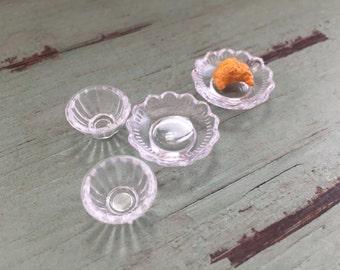 Miniature Clear Bowls, Dollhouse Miniature Kitchen Decor, Accessories, 1:12 Scale, Mini Bowls