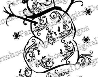 Let it Snowman .SVG/.DXF/.PNG for use w/ Silhouette Studio and other Cutters -- Instant Download