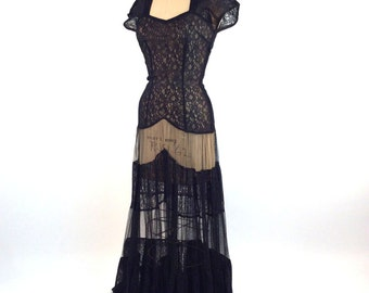Vintage 1930s Dress, Women's Sheer Dress, Black, Lace, Net, Sweetheart Neckline, Tiered Skirt, Cap Sleeve, Very Long, Beautiful Sweep!