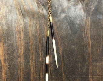 African Porcupine Quill Lariat Necklace