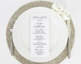 Elegant Script Design Wedding Menu in Black - Deposit