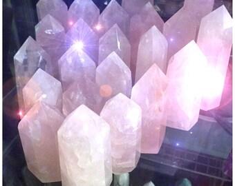 """Rose Quartz crystal, 1 pc,  2.5"""" obelisk point tower gemstone polished stone, pink, reiki, wiccan, altar,"""