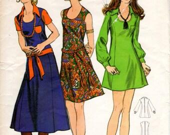 1970s A Line Mini Dress Pattern - Vintage Butterick 5886 - Bust 32