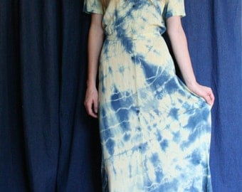 1970's Calvin Klein Silk Dress / Tie Dye Indigo Blue / Dyed Cream Silk Dress / Ethereal Festival Dress / Button Front Dress / Designer