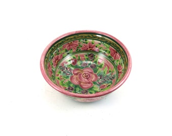 Handmade Cereal Bowl - Floral Ceramic Pottery Bowl with Pink Background and Flowers - OOAK