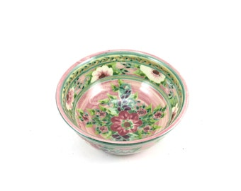 Cereal Bowl - Pink Floral Ceramic Pottery Bowl with Flowers - OOAK