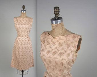 1950s embroidered wiggle dress • vintage 50s dress • floral summer dress