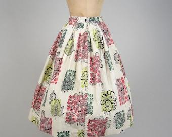 1950s barkcloth full skirt • vintage 50s skirt • novelty print skirt