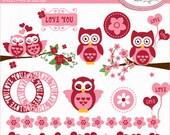 Valentine's Day clipart, owl clipart, Valentine owl clipart, cherry blossom clipart, Valentine frames clipart, P103