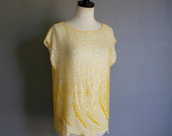 Vintage SEQUIN Sunshine LEMON YELLOW Slouchy Embellished Blouse (m)