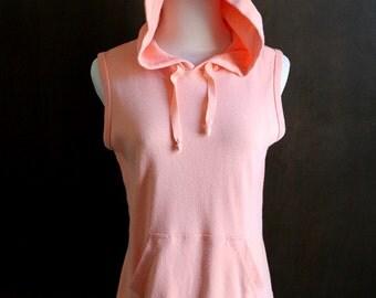 80s vintage hoodie / hooded tank top sweatshirt, peach pink, drawstring neck, sleeveless top