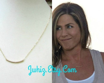 Jennifer Aniston Gold Bar Necklace, Sandy Curved Tube Necklace From Mothers Day Movie, 14K Gold Fill Necklace, Sandy's Bar Necklace