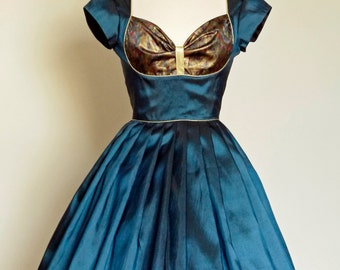 Teal Blue Taffeta & Vintage Brocade Bustier Prom Dress - made by Dig For Victory