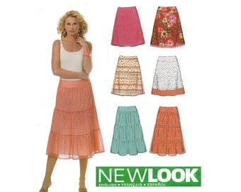 New Look 6595 Flared or Tiered Peasant Skirts Pattern Out Of Print Sizes 12 - 24 UNCUT Factory Folded