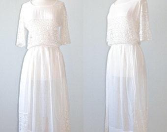 Edwardian Tea Dress, Antique 1910s White Cotton & Cutout Lace Dress